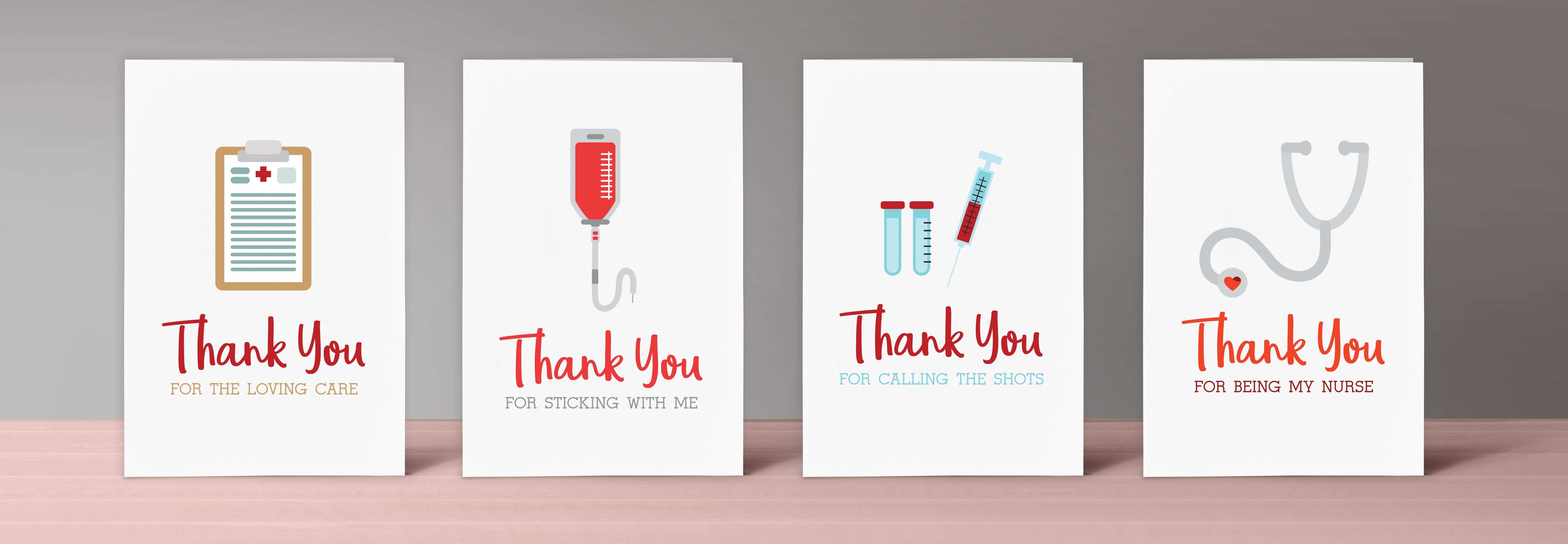 printable nurse thank you cards  u2013 set of 4
